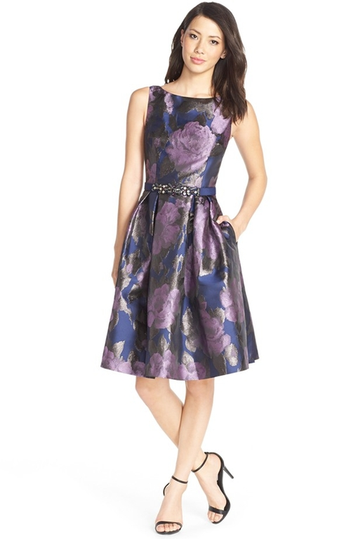 Floral Metallic Jacquard Fit & Flare Dress by Eliza J in The Big Bang Theory - Season 9 Episode 8
