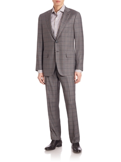 Windowpane Check Italian Wool Suit by Isaia in Empire