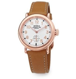 Runwell Rose Leather Strap Watch by Shinola in Fifty Shades Darker