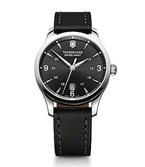 Alliance Men´s Black Leather Watch by Victorinox Swiss Army in Ride Along