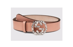 Pink Leather Belt with Crystal Interlocking G Buckle by Gucci in Scream Queens