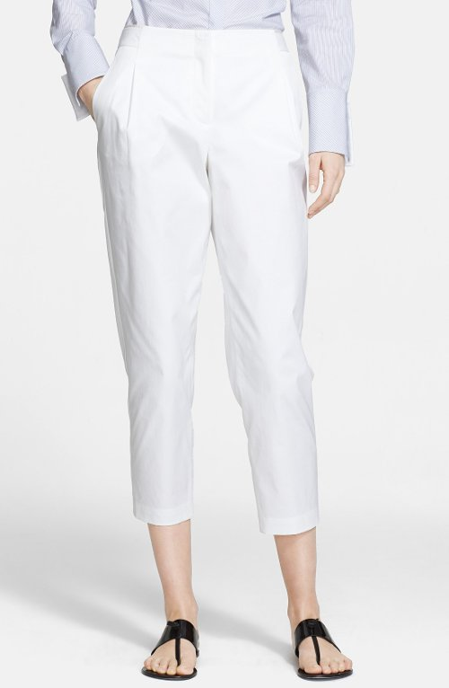 Pleat Stretch Cotton Crop Pants by Nordstrom Signature and Caroline Issa in Begin Again