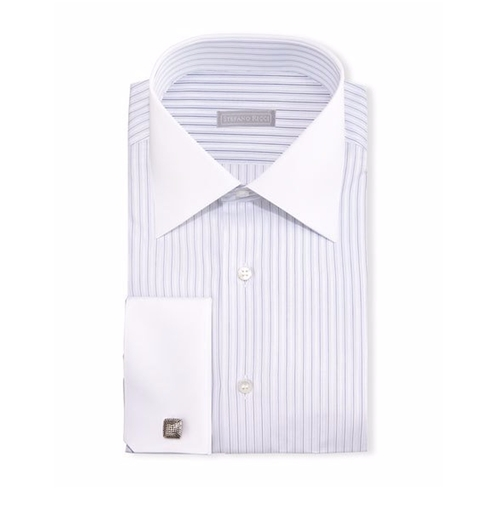 Contrast-Collar Striped Dress Shirt by Stefano Ricci in Crazy, Stupid, Love.