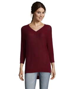 Wine Cashmere V Neck Sweater by Magaschoni  in Modern Family
