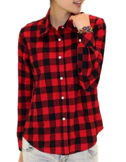 Women's Fashion Check Flannel Shirt by King Ma in The DUFF