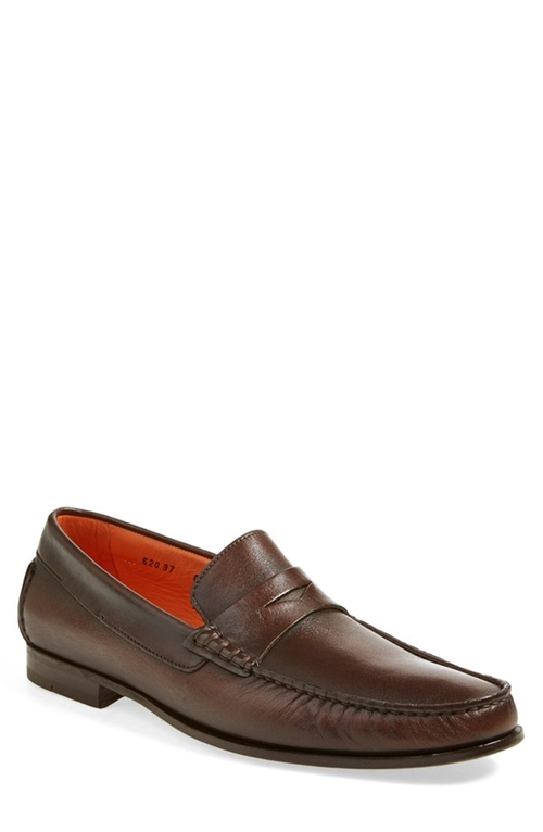'Turner' Leather Penny Loafer by Santoni in Scream Queens