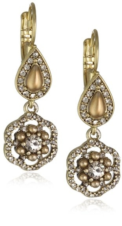 Pearl Double Stone Drop Earrings by Carolee in 99 Homes