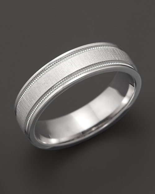 Men's 14K White Gold Comfort Feel Engraved Wedding Band by Bloomingdale's in Contraband