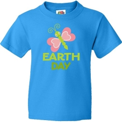 Earth Day Butterfly Youth T-Shirt by Inktastic in Southpaw
