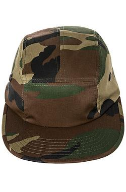The 5 Panel Cap in Woodland Camo by Rothco in Lucy
