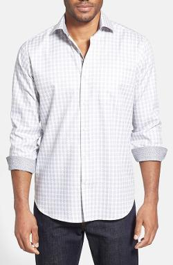 Check Cotton Sport Shirt by Bugatchi in No Strings Attached