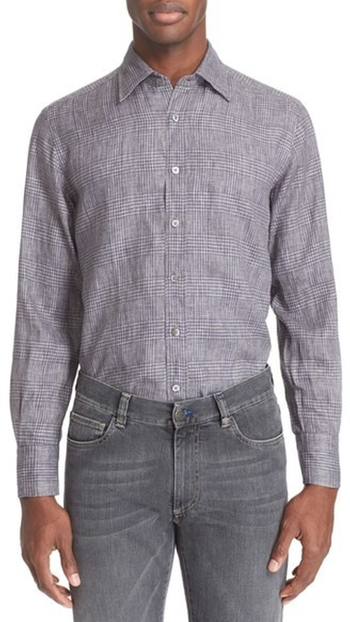 Regular Fit Plaid Linen Sport Shirt by Canali in Empire - Season 2 Episode 8