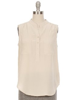 Sleeveless Two Pocket Henley Blouse by L'Agence in While We're Young