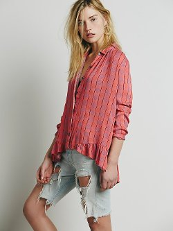 Stripe Ruffle Hem Button Down Shirt by Free People in The Divergent Series: Insurgent