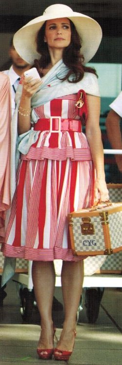 Selected by Patricia Field (Costume Designer) by Vintage Red And White Stripe Dress in Sex and the City 2