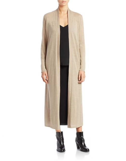 Wool/Linen Maxi Cardigan by Eileen Fisher in Black-ish