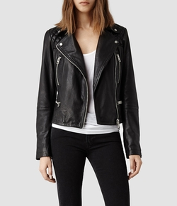 Bleeker Leather Biker Jacket by All Saints in Arrow