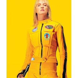 Custom Made Bright Yellow Motorcycle Jacket by Catherine Marie Thomas (Costume Designer) in Kill Bill: Vol. 1