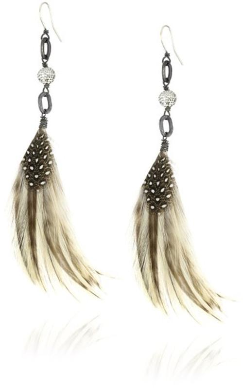 Mini Pave Ball Natural Feather Earrings by Deanna Hamro Atelier in Lucy