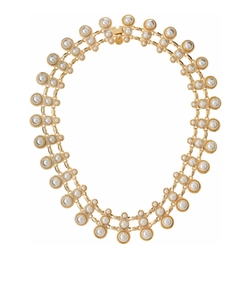 Golden Triple-Pearly Station Collar Necklace by Lydell NYC in Creed