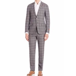 Plaid Two-Button Wool Suit by Isaia in The Good Place