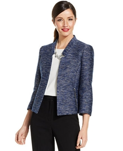 Tweed Zip-Pocket Blazer by Kasper in Drive