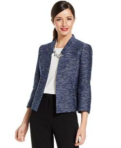 Tweed Zip-Pocket Blazer by Kasper in Drive