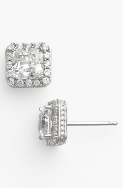Pavé Square Stud Earrings by Nordstrom in Mean Girls