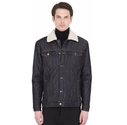 Faux Shearling Lined Cotton Denim Jacket by Numero 00 in Kingsman: The Golden Circle