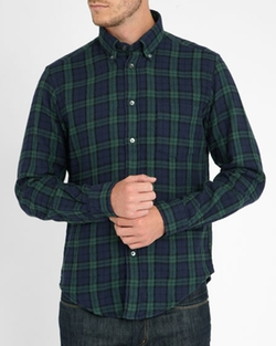 Double-Face Classic Fit Flannel Shirt by Hartford in Ashby