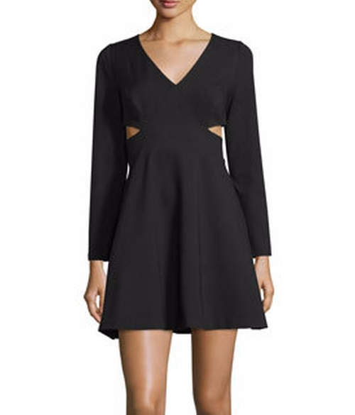 Long-Sleeve V-Neck Dress W/Cutouts by Halston Heritage  in Justice League