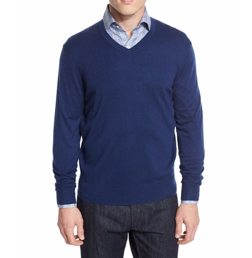 Cashmere-Silk V-Neck Sweater by Neiman Marcus in Billions