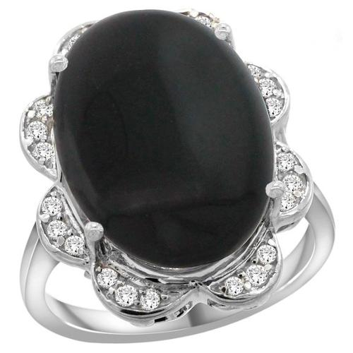White Gold Natural Black Onyx Ring by Gabriella Gold in The Hundred-Foot Journey