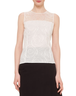 Floral Lace Sleeveless Blouse by Akris in Suits
