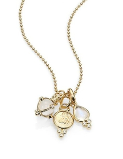 Rock Crystal, Moonstone, Diamond & Yellow Gold Charm Necklace by Temple St. Clair in Suits