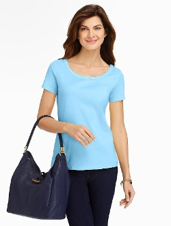 Pima Cotton Braid Tee by Talbots in The Visit