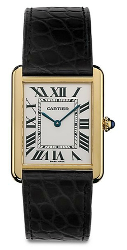 Yellow Gold & Alligator Strap Watch by Cartier in Suits