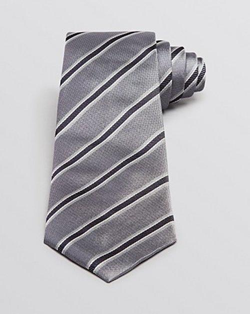 Pique and Twill Diagonal Stripe Tie by Armani Collezioni in Blackhat