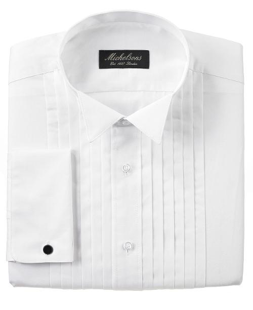 Pleated Wing French Cuff Tuxedo Shirt by Michelsons of London in Jersey Boys