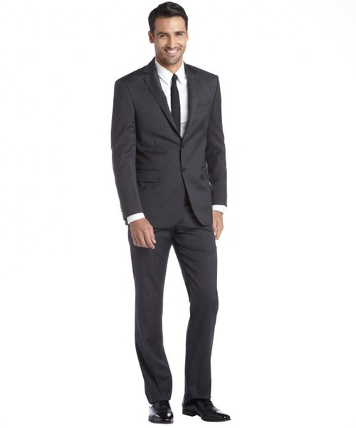 Charcoal Pinstripe Two Button Suit by Yves Saint Laurent in The Blacklist