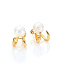 Champagne Akoya Pearl & Crystal Convertible Stud Earrings by Vita Fede in The Notebook