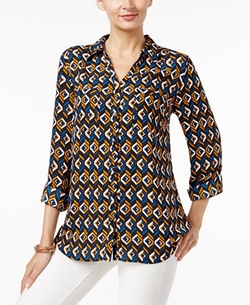 Printed Utility Shirt by NY Collection in Free Fire
