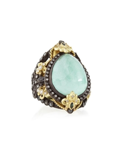 Old World Pear Green Turquoise Doublet Ring by Armenta in Empire