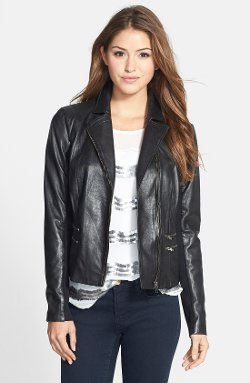 Front Zip Leather Jacket by Halogen in That Awkward Moment