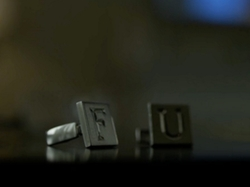 Custom Made FU Cufflinks (Frank) by Johanna Argan (Costume Designer) in House of Cards