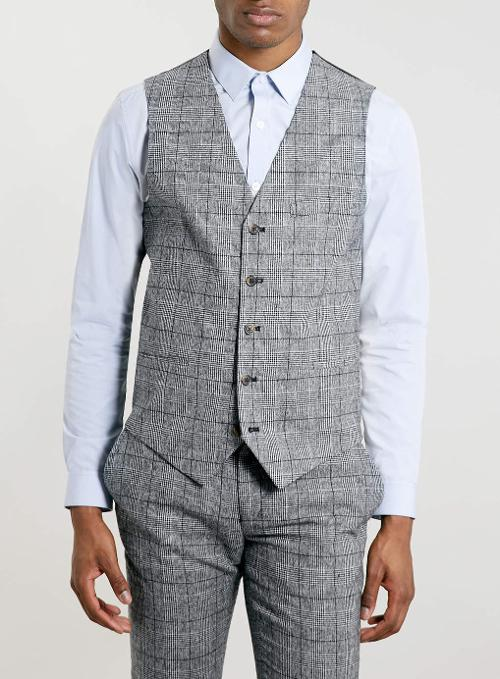 PREMIUM GREY CHECKED SUIT VEST by Topman in Brick Mansions