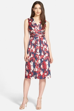 Print Stretch Silk Surplice Dress by Classiques Entier in Modern Family