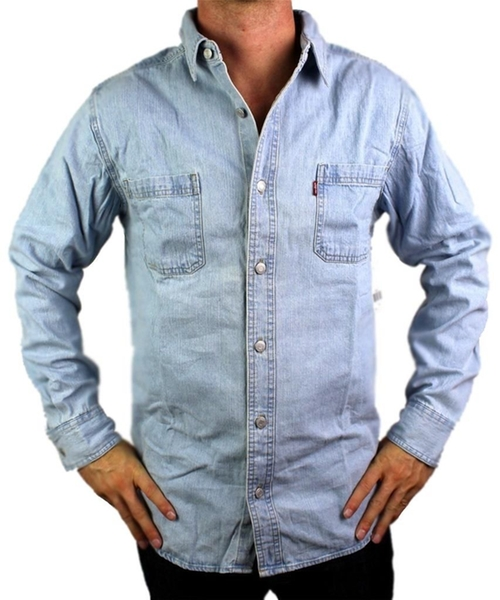 Cotton Classic Denim Button Up Casual Dress Shirt by Levi's in Pete's Dragon
