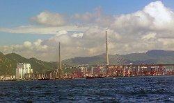 Hong Kong, China by Stone Cutters Bridge in Blackhat