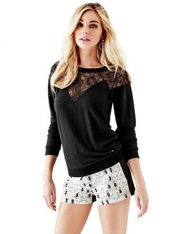 Women's Toledo Lace Sleeveless Fleece Sweater by Guess in Pretty Little Liars